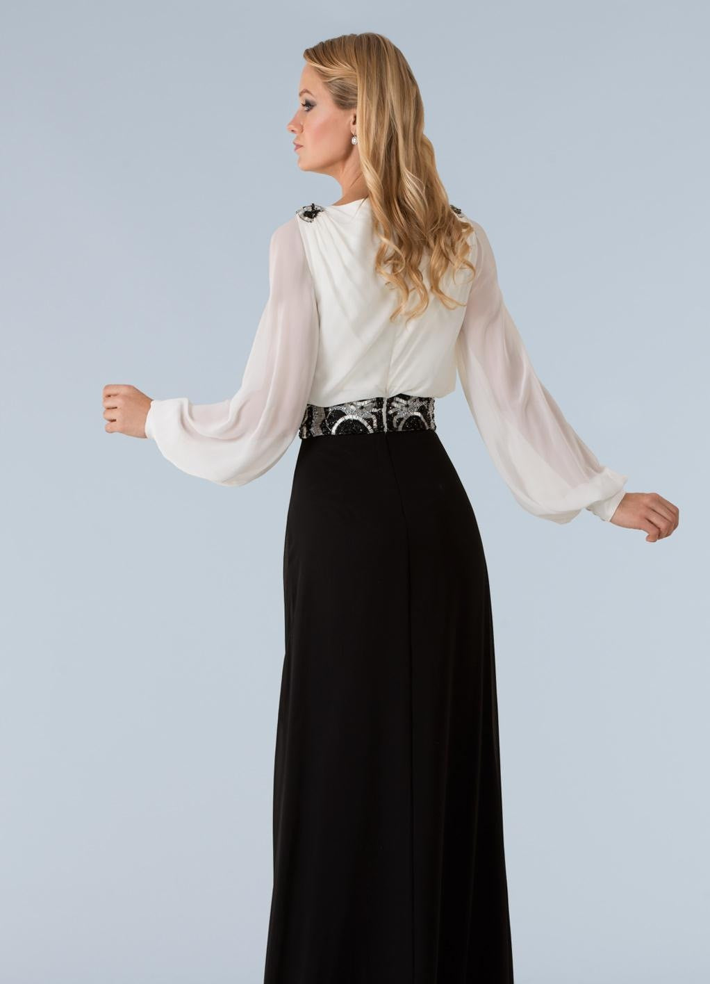 Feriani 18395 Two-Toned Long-Sleeved Gown