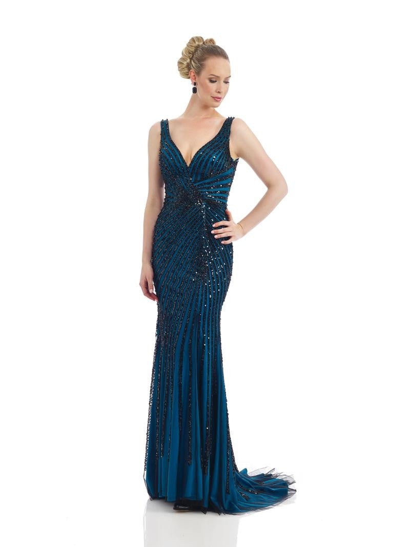 Morrell Maxie 14326 Black Embellished Teal Lined Gown