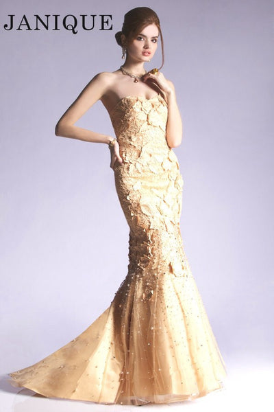 Janique K4600 Textured Strapless Mermaid Gown