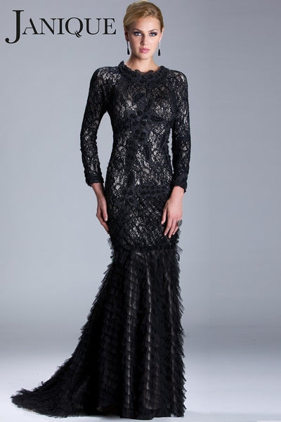Janique JA188 Nude & Black Lace Mermaid Gown