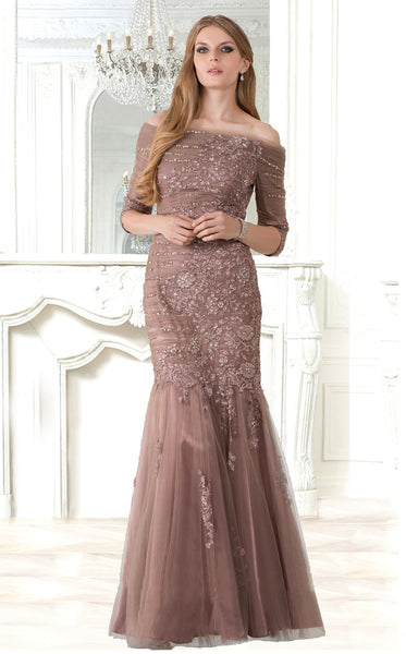 Feriani 18376 Off-the-Shoulder Rose Gown