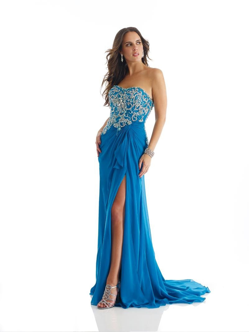Morrell Maxie 14323 Strapless Crystal Embellished Teal Gown
