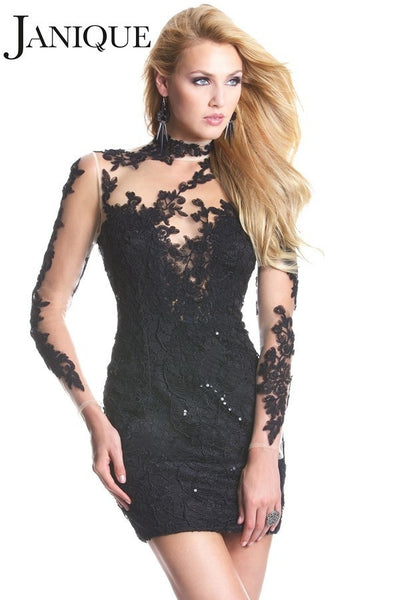 Janique 6054 Long-Sleeved Lace Little Black Dress