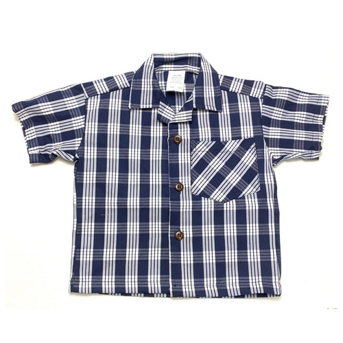 Navy Palaka Button Up