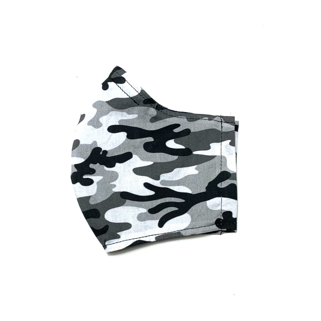 Men's/Women's Fitted Mask in Grey/Black Camo