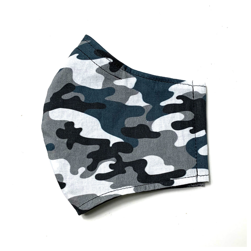 Men's/Women's Fitted Mask in Navy Camo