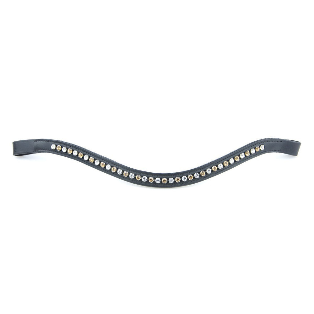 Black Leather Small Stone Browbands by Bridle2Fit