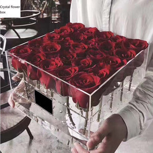 Acrylic Rose Flower Box Multi Function Organizer Makeup Case Cosmetic Lid Holder