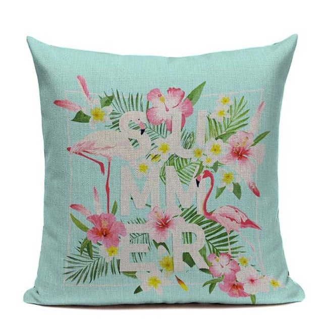 Tropical Plants Leaves Flamingo Bird Cushion Covers Watercolor Painting Summer Vibes