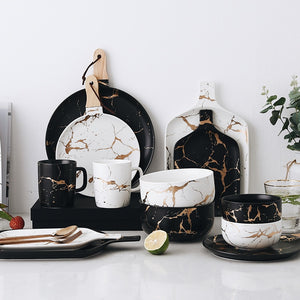 Gold Marble Glazes Ceramic Tableware