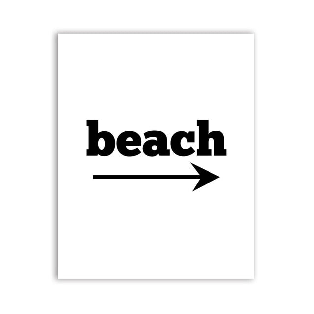 Black and White Beach landscape Canvas Painting
