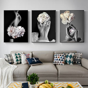 Flowers Feather Women Oil Painting Canvas