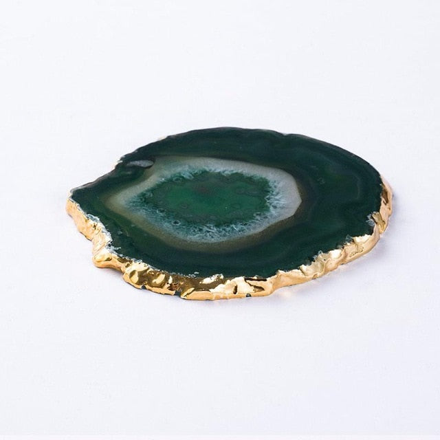 Natural Agate Gold Edge Coasters