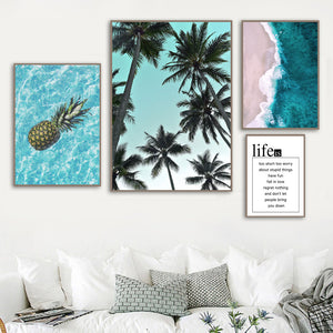 Pineapple Palm Tree Blue Sea Beach Quote Wall Art Canvas Painting