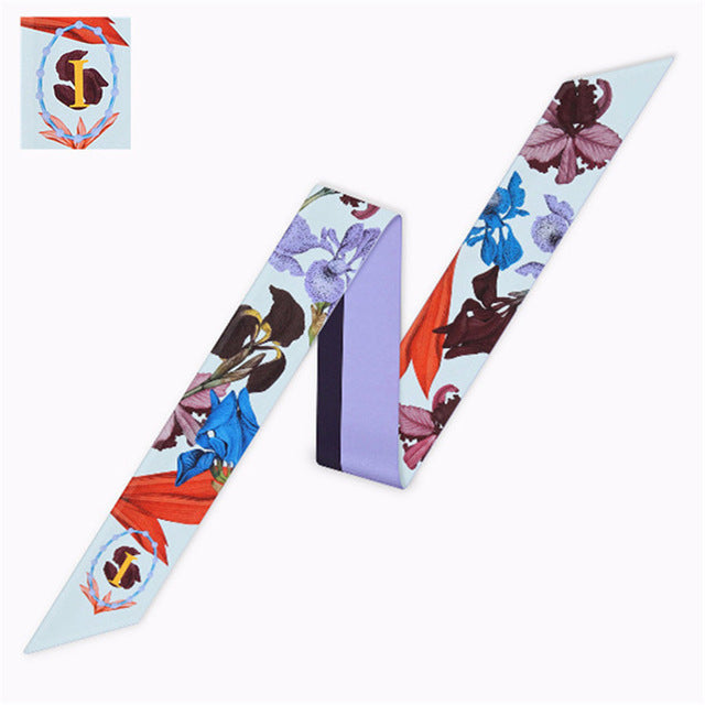 Alphabet Letters Silk Twilly Scarf