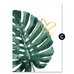 Gold Pineapple Canvas Painting Green Leaves Letter Art