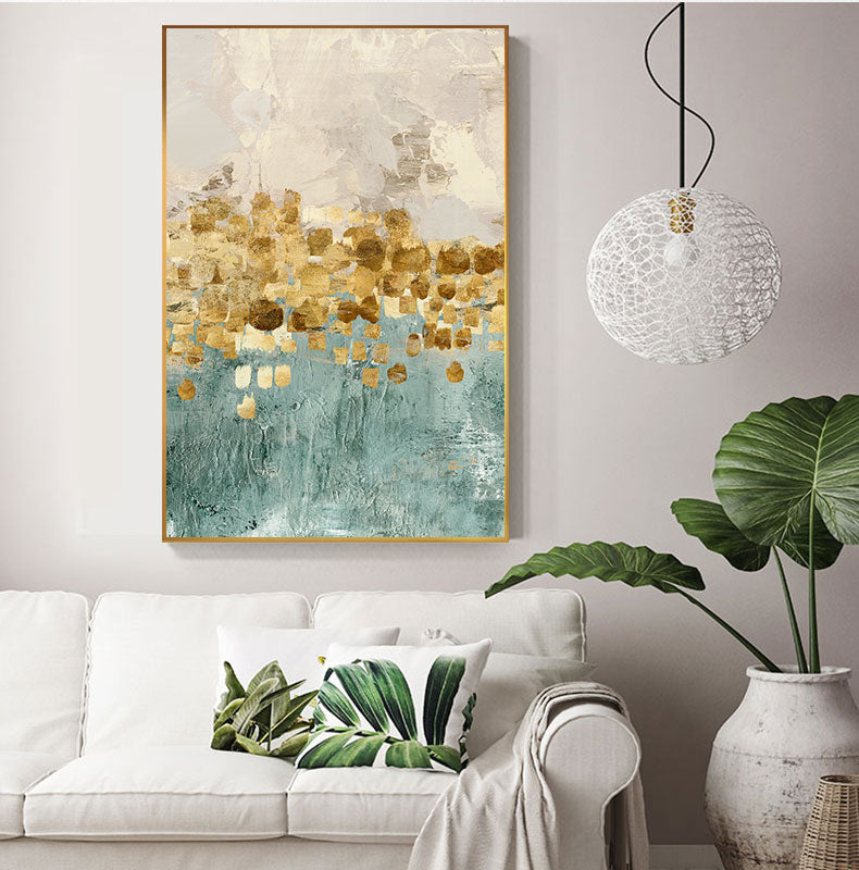 Abstract Golden Coins Star Canvas Painting Tiffany Blue Print