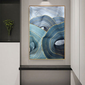 Abstract Blue Gold Foil Annual Ring Canvas