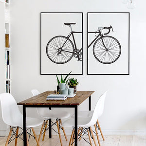 Bike Canvas Painting Modern Astract Oil Print Poster