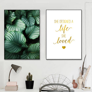 Green Leaves Picture Wall Art Canvas Gold Quotes Posters And Prints Unframed