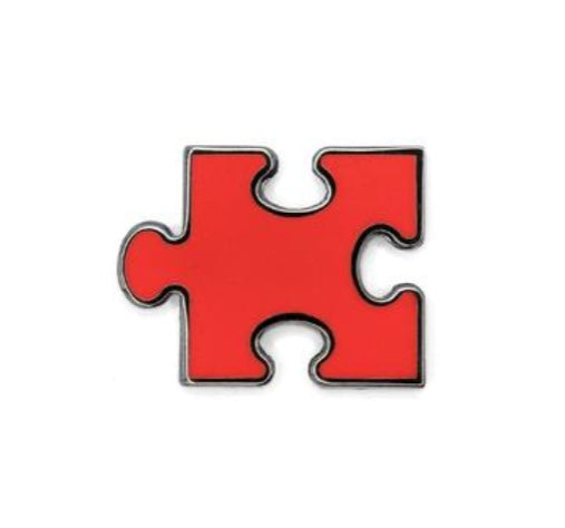 HDQTRSNYC RED AUTISM PUZZLE LAPEL PIN