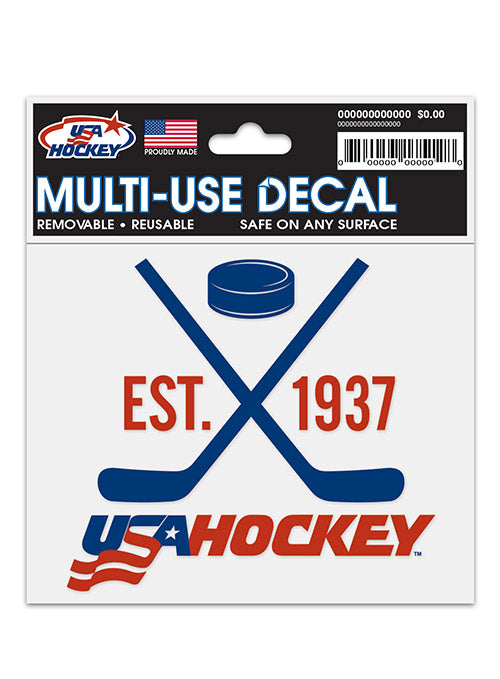 USA Hockey 3 x 4 Static Cling Decal