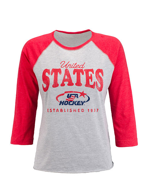 Ladies USA Hockey Arc & Star Logo 3/4 Sleeve Raglan T-Shirt