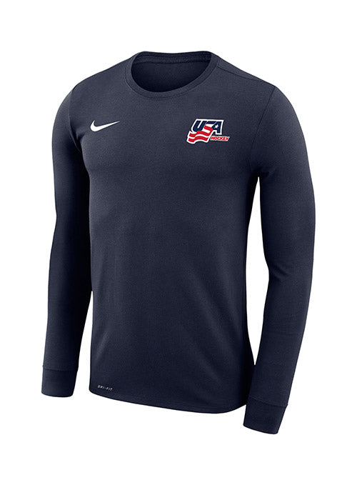 Nike USA Hockey Dri-FIT Secondary Logo Long Sleeve T-Shirt