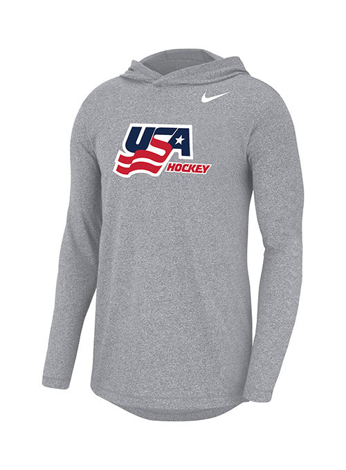 Nike USA Hockey Marled Secondary Logo Hooded Long Sleeve T-Shirt