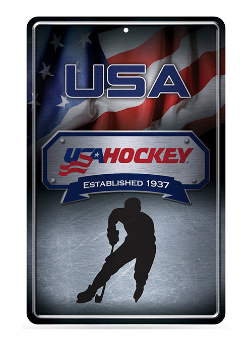 USA Hockey 11 x 19-Inch Metal Sign