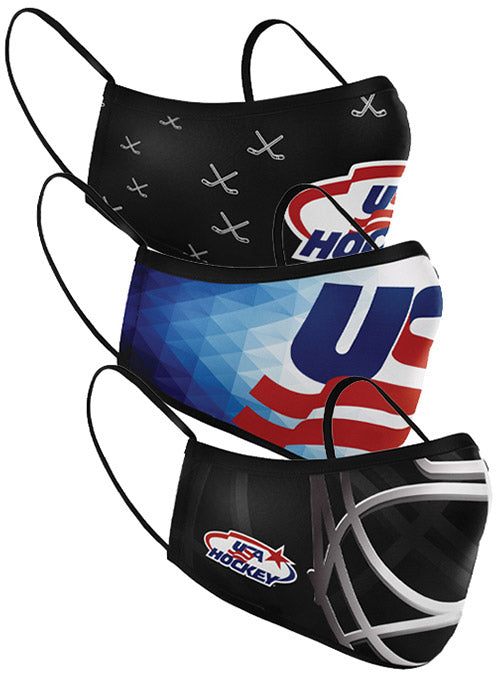 USA Hockey Reusable 3-Pack Face Coverings