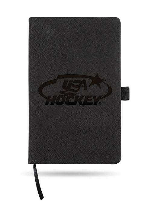 USA Hockey Laser Engraved Black Notebook