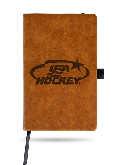 USA Hockey Laser Engraved Brown Notebook