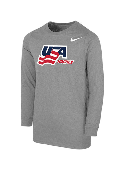 Youth Nike USA Hockey Secondary Logo Long Sleeve T-Shirt