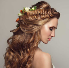 Bridal Hair with Braids and Accessories like flowers and jewelry