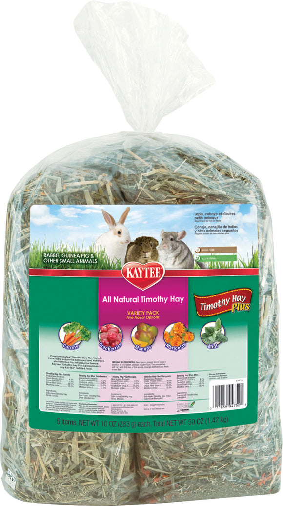 Kaytee Products Inc - Timothy Hay Plus Variety Pack For Small Animals