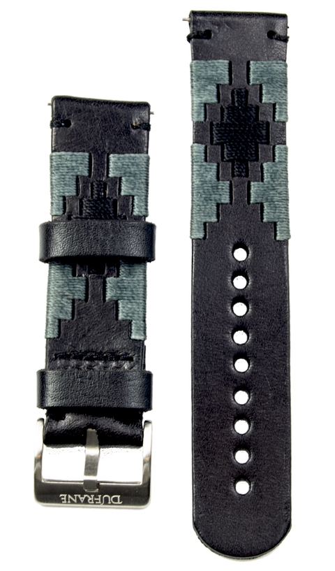 Black Gaucho Leather Strap- SS Buckle