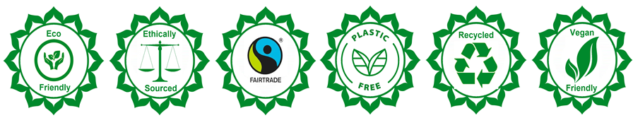 Eco-friendly, ethically sourced, Fairtrade, plastic free, recycled, vegan friendly