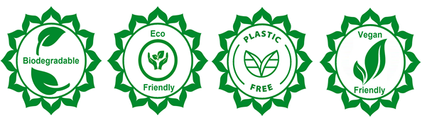 eco friendly, biodegradable, plastic free and vegan friendly