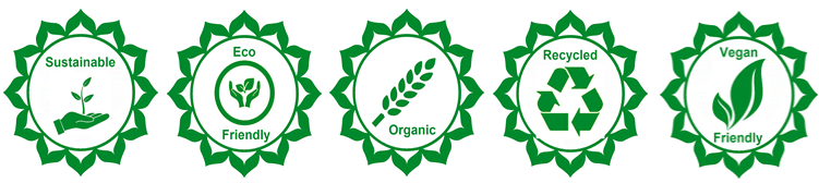 Sustainable, eco-friendly, organic, recycled, vegan friendly