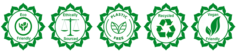 Eco-friendly, ethically sourced, plastic free, recycled, vegan friendly