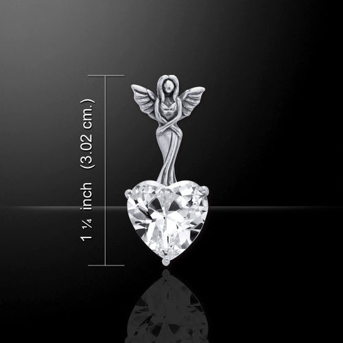 White Zirconia Heart Angel Pendant (Sterling Silver) - My Green Heart