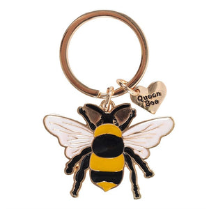 Queen Bee Enamel Keyring - My Green Heart