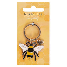 Load image into Gallery viewer, Queen Bee Enamel Keyring - My Green Heart