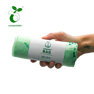Biodegradable Green Bin Bags - 50 Litres (25 bags per roll) - My Green Heart