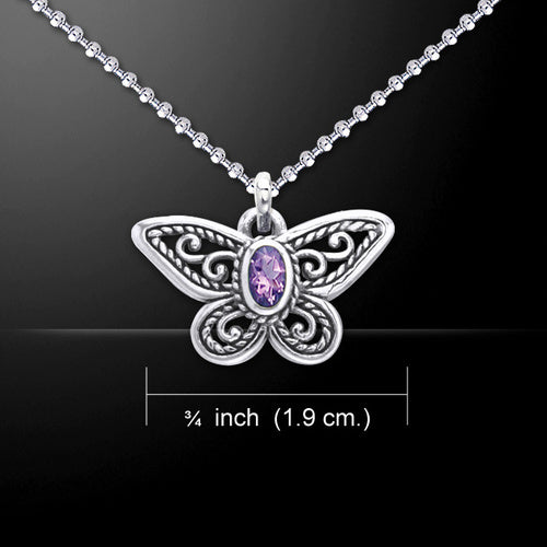 Butterfly Pendant with Amethyst (Sterling Silver) - My Green Heart
