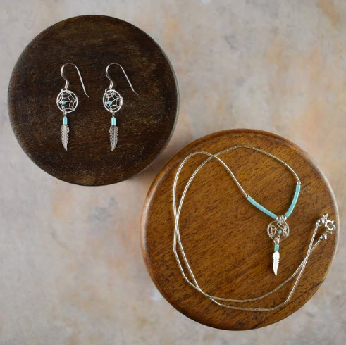 Small Dream Catcher Earrings & Necklace with Turquoise - My Green Heart