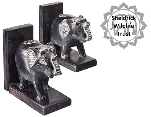 Soapstone Carved Elephant Bookends - DEFECT
