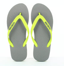 Load image into Gallery viewer, 100% Plastic Free Natural Rubber Flip Flops - Unisex Grey with Lime Line - My Green Heart