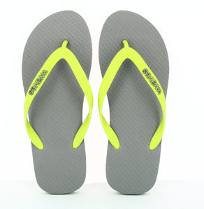100% Plastic Free Natural Rubber Flip Flops - Unisex Grey with Lime Line - My Green Heart